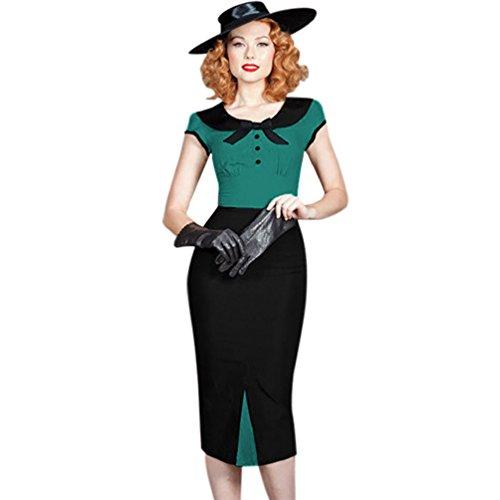 Ro Rox Vestido para Mujer, Estilo Pin up Rockabilly Retro de los años 40-50 Verde Verde 46