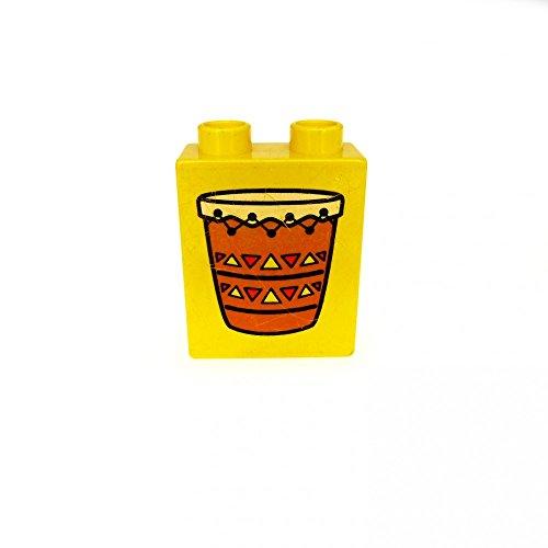 1 x Lego Duplo Motivstein gelb 1x2x2 Bedruckt Trommel Indianer Pauke Bild BAU Stein 4066pb095
