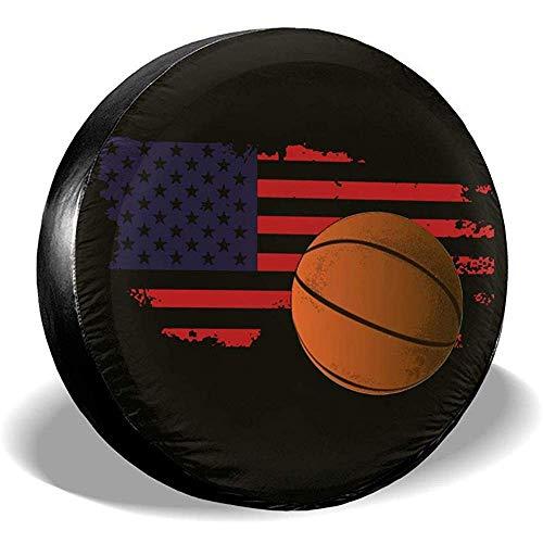 LYMT vervangende wielafdekking voor basketbal, Amerikaanse vlag, universeel, voor aanhangers, RV, SUV, vrachtwagen, aanhanger