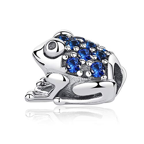 jiao Authentic 925 Sterling Silver Charm Bead Green&Blue Frog Crystal Charms Fit Bracelets & Bangles Diy Women Jewelry Making blue