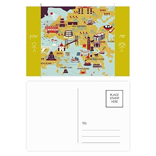 Hong Kong mapa turístico China Amigo postal conjunto de tarjetas de agradecimiento lado de correo 20pcs