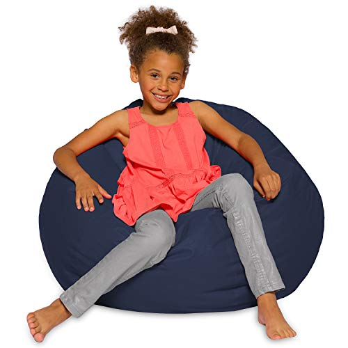 Posh Creations Structured Comfy Bean Bag Chair For Gaming, Reading, And Watching TV, Z Large 38-Inch, Soft Nylon-Navy