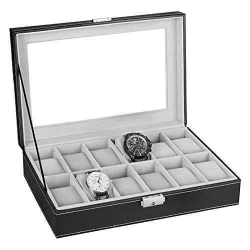 腕時計収納ボックス 12本用 時計収納ケース 鍵付き 時計 コレクションボックス ブラックレザー 腕時計保管ケース ガラス天板付き 時計ケース 高級 仕切取外し可能
