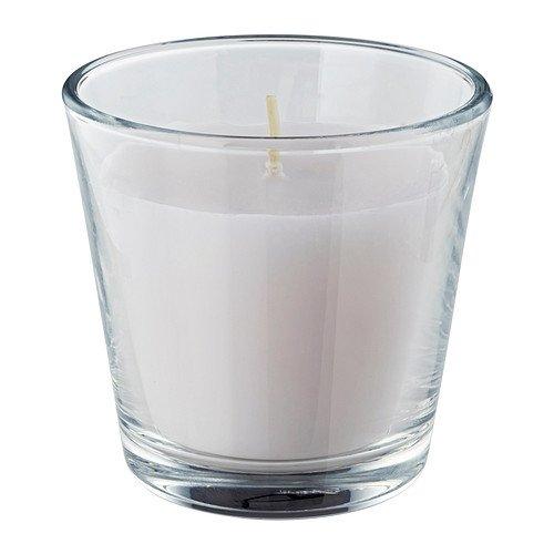 IKEA OMTALAD - vela perfumada en vidrio, blanco