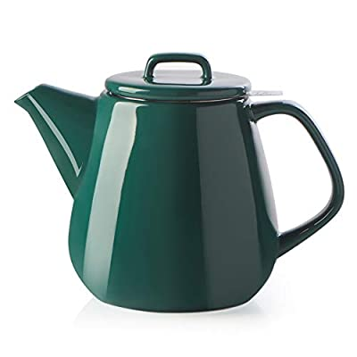 SWEEJAR Ceramic Teapot, Large Tea Pot with Stainless Steel Infuser, 40 Ounce, Blooming & Loose Leaf Teapot for Tea Lover, Gift, Family,(Jade)