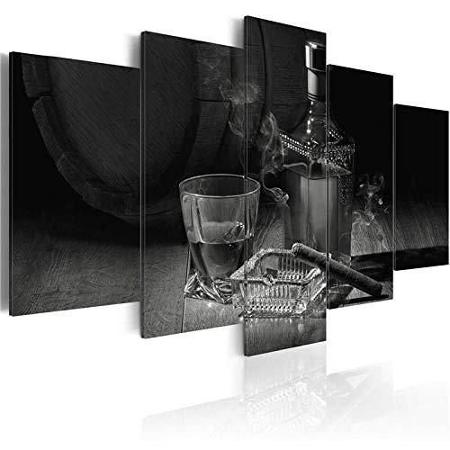 CSDECOR Cuadro En Lienzo 200X100 Cm 5 Piezas Moderno Abstracto Arte De La Pared Cigarros Vino Foto Lienzo Pintura Gafas Carteles E Impresiones para Bar