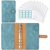 Housolution Carpeta de Cuaderno de 6 Anillas, Cubierta de Hojas Sueltas de Cuero de PU con 12 Sobres de Plástico Transparente con Cremallera A6, Bolsillos y Etiqueta Autoadhesiva - Azul Vintage