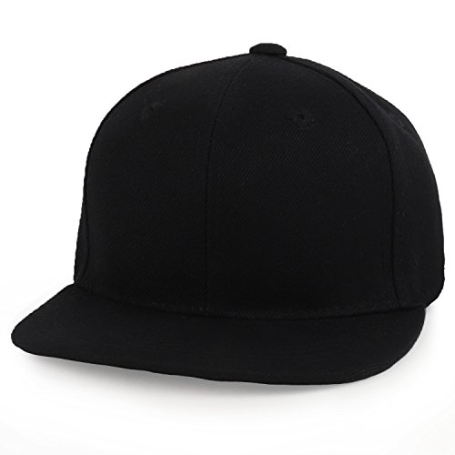 Trendy Apparel Shop Infant to Toddler Kid's Plain Structured Flatbill Snapback Cap - Black