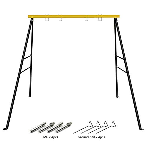 """SURPCOS Swing Frame, New Upgraded Extended A-Frame Swing Stand with Ground Nail, Heavy Duty Metal Swing Frame, Fits for Porch Swing & Yoga, Anti-Rust and Good Stability, 72"""" Height 65"""" Length"""