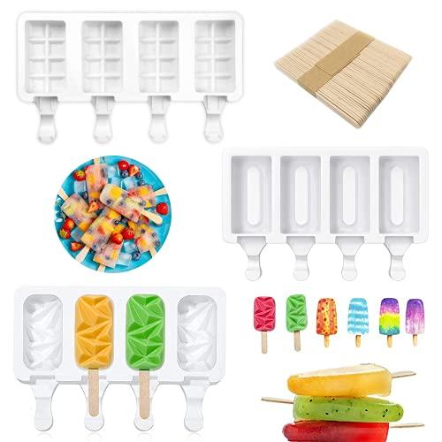 Moldes grandes de silicona para paletas, 3 moldes de silicona para hacer helados reutilizables sin Bpa, juego de paletas de chocolate con 60 palos