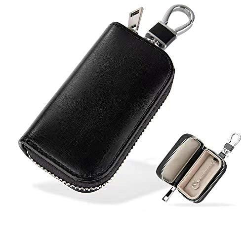 MONOJOY Faraday Tasche für Autoschlüssel, Autoschlüssel Signal Abschirmbox, RFID Diebstahlschutzbox aus Leder, Fernbedienung schlüsseletui mit Haken und Schlüsselring(Schwarz)