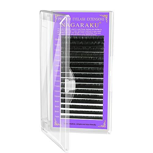 NAGARAKU Eyelash Extensions Individual 0.20 mm D curl 16mm Premium Classic Matte Black Single Length Faux Mink Lashes Soft Natural Professional Beauty Salon Supplies