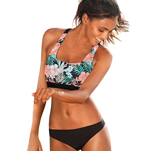 Damen Sport Badeanzug Bikini Set Gepolstert Bustier Bikini Push up High Neck Badenanzug Blumendruck Neckholder Swimsuit Zweiteilig Schwimmanzug (L, Schwarz 2)