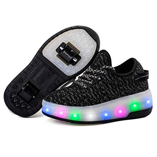 Getrichar Mädchen, Jungen und Kinder Einzel- / Dual-Rad-LED blinkende Skateboard-Schuhe Roller Skatne Turnschuhe (Color : J, Size : 36)