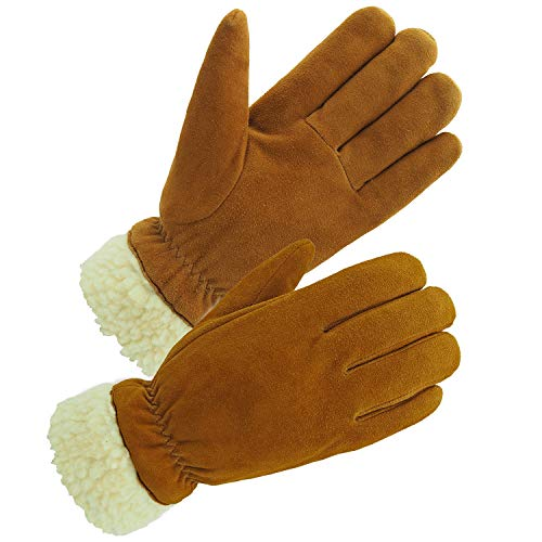 SKYDEER Winter Gloves with Full Premium Genuine Deerskin Suede Leather and Warm Pile Lining for Cold Weather Work and Sports (SD8675T/M)