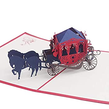 PUDOCK Creative 3D Pop Up Horse Carriage Paper Craft Card Carved Holiday Birthday Gift Greeting Card Christmas Thanksgiving New Year Red