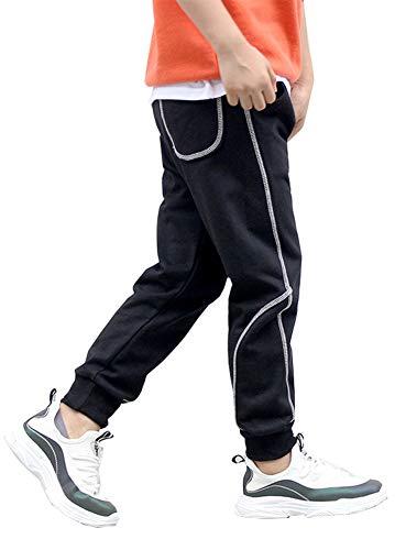 Kinder Jungen Baumwolle Jogginghose Outdoor Pants Freizeithosen Sweathosen Sporthose (Schwarz, 110-115)