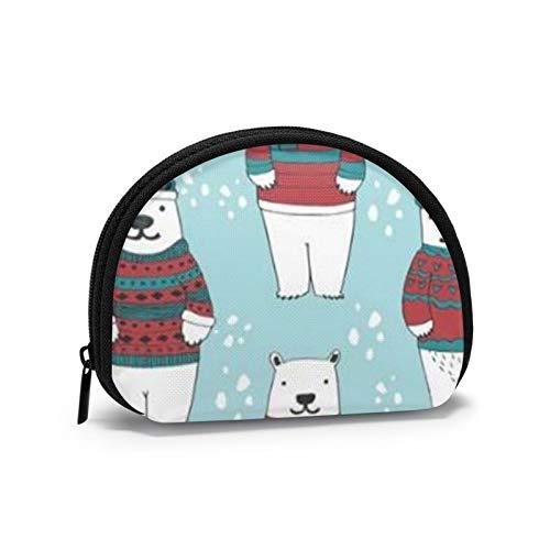Osos Polares en suéteres Navidad Mujeres niñas Shell cosmético Maquillaje Bolsa de Almacenamiento Compras al Aire Libre Monedas Billetera Organizador