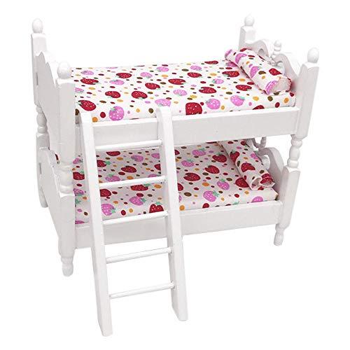 ToDIDAF Puppenhaus Zubehör Mini-Etagenbett 1:12 Puppenhaus Miniatur Wohnmöbel, Szenenmodell Lernspielzeug für Kinder, für Wohnzimmer Garten Geburtstag Valentinstag Deko 13,7 x 8,1 x 12 cm