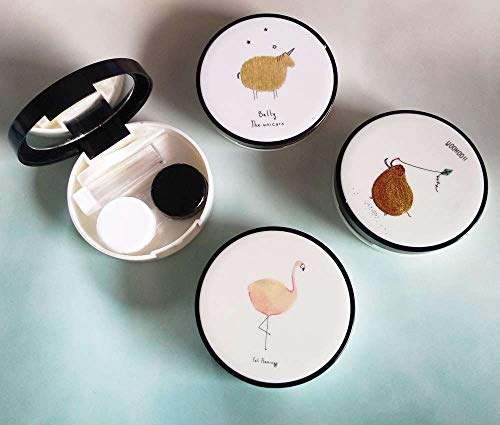La Vue Kontaktlinsenbehälter Kontaktlinsen WITZIGE TIERE Reise Spiegel Flasche Pinzette Mini Behälter Set Etui Aufbewahrungsbox Case Kit Box Schachtel Kasten (Woohoo!!)