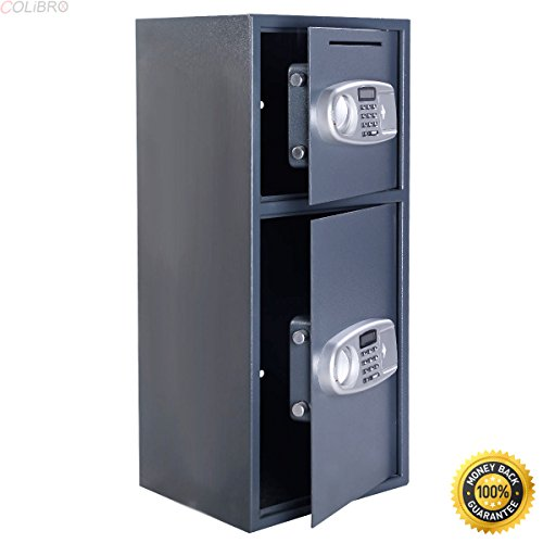 COLIBROX--Double Door Digital Safe Depository Drop Box Safes Cash Office Security Lock New,best long gun safe,best gun safe 2017,compact long gun safe,cheap gun safe,replacement lock for gun cabinet
