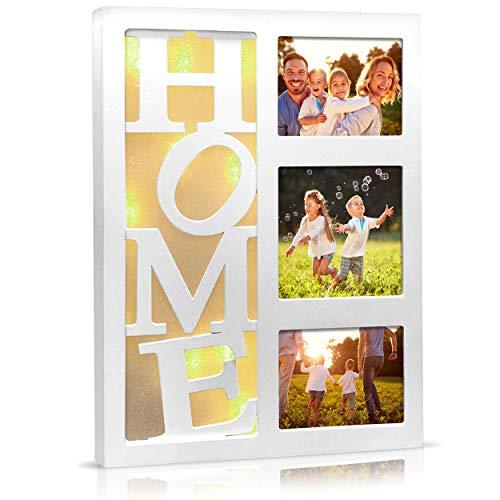 Bilderrahmen Fotorahmen Collage HOME weiß beleuchtet hochkant 22,5x3x30 cm - 10 warmweiße LED Batteriebetrieb - Bilder Memories Rahmen Fotocollage mit LED-Beleuchtung für 3 Fotos (HOME)