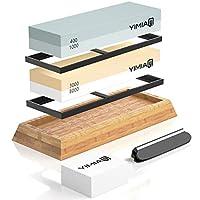 yimia - set 2 in 1 per affilare la pietra con grana 400/1000 3000/8000, pietra per affilare coltelli con supporto in gomma, base in bambù e supporto per coltelli e pietra per affilare