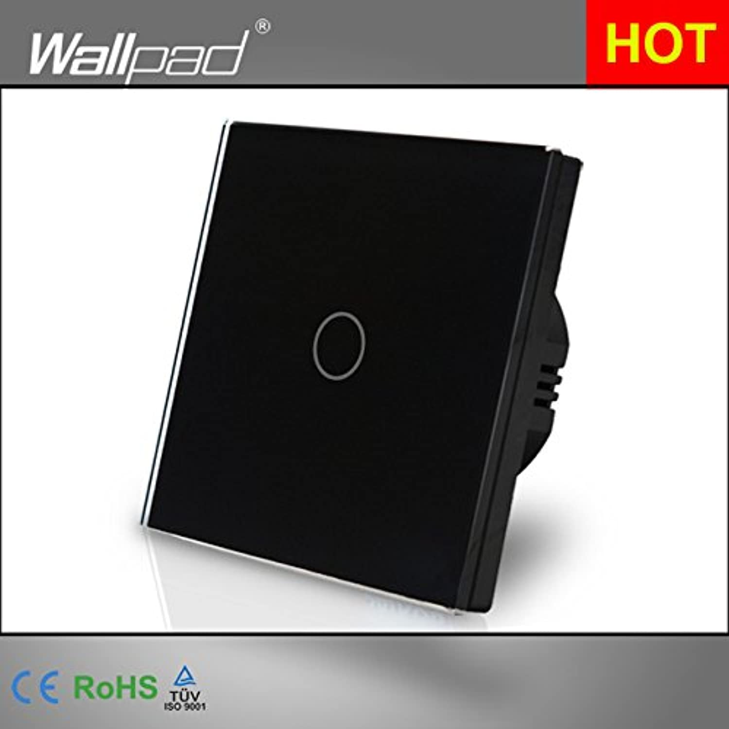 Wallpad 86  86mm 1 Gang 1 Way gold Light Switch EU Standard Wall Switch AC110250V Electrical Touch Switch with LED Indicator  (color  Black)