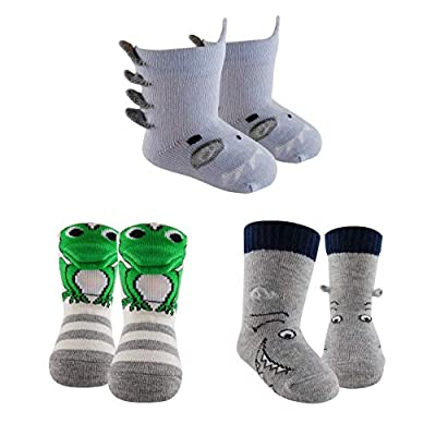 Sockmate 3D Baby Newborn Crew Cotton Socks-Baby Shark, Fish, Dinosaur, Frog for Infant Girls, Boys for 0-6/6-12/12-18 Months