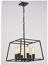 HOXIYA 6 Light Pendant Light Black Metal Candle Style Hanging Ceiling Light Fixture Rustic Lantern Pendant Lighting for Kitchen Farmhouse Island Bar Dining Room Restaurant