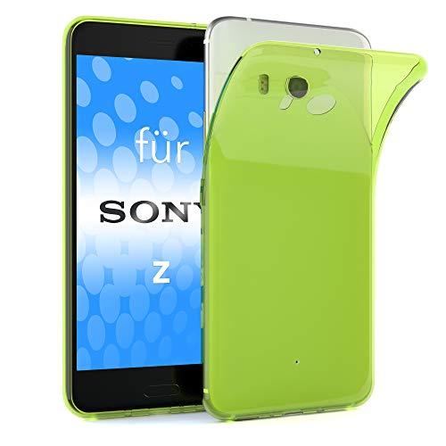 EAZY CASE Hülle für Sony Xperia Z Schutzhülle Silikon, Ultra dünn, Slimcover, Handyhülle, Silikonhülle, Backcover, Durchsichtig, Klar Grün