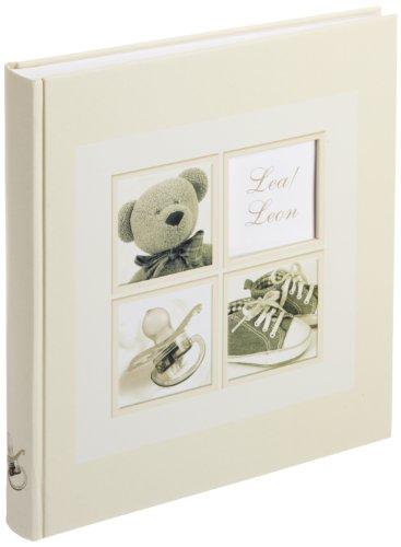 Walther UK-174 Babyalbum Sweet Things mit Ausstanzung für persönlichen Namen, 60 weiße Seiten, 4 Seiten illustrierter Vorspann, 28 x 30,5 cm creme