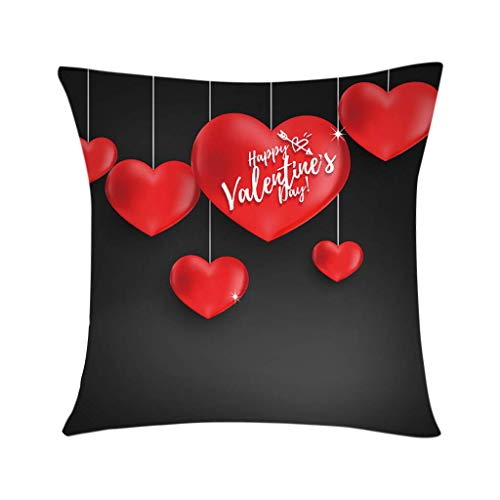 Cubierta de almohada de la almohada de San Valentín Poliéster Hombre impreso Funda de almohada Cuadrado Cojín decorativo cubierta suave para coche, sofá, cama, sofá, decoración de sala de estar 18 x 1