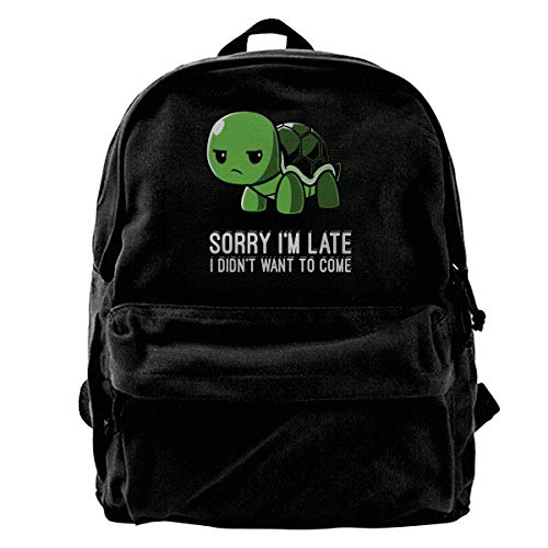 School Bag Sorry I'm Late I Didn't Want to Come Canvas Backpack Women Travel Backpack Laptop Backpack Men Gift School Print Unique Lightweight Book Casual Birthday Cute Shoulder Ba