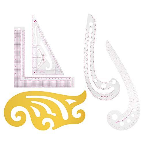 Regla curva de 5 piezas, regla de medida multifuncional, juego de regla de costura de bricolaje, para corte de ropa, posicionamiento, corrección, bolsillo, cuello, círculo, dibujo lineal