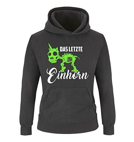 Comedy Shirts - Das letzte Einhorn - Skelette - Mädchen Hoodie - Schwarz/Weiss-Neongrün Gr. 152