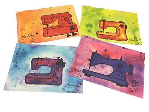 AnneSvea ansichtkaarten set 4 stuks A6 druk naaimachine naaikamer sewing handgemaakte decoratie