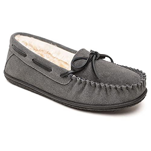 Minnetonka Camp Tie Moc - Moccasin Outdoor/Indoor Slippers for Women Charcoal, 9 M