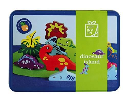 Apples to Pears Estaño gigante dinosaurios isla de dinosaurios de madera y tapete de juego en una lata