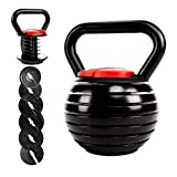 Victor Fitness Adjustable Kettlebell with 7 Weight Levels from 10-40 lbs. Perfect for Abs, Arms, Legs, & Back Workouts VFAKB40
