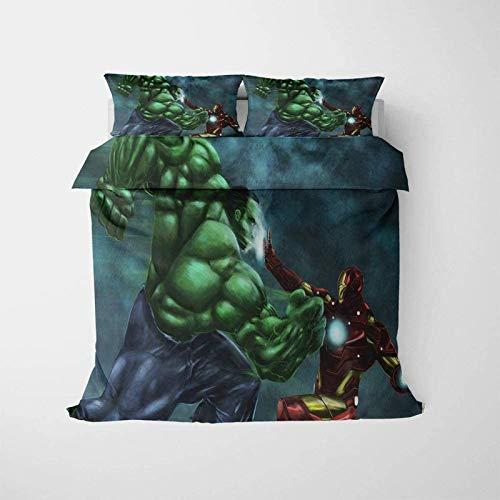 QWAS Juego de ropa de cama de 3 piezas, impresión 3D Iron Man Hulk en patrón de combate, funda de edredón para niños y adolescentes (V01,135 x 200 cm + 80 x 80 cm x 2)