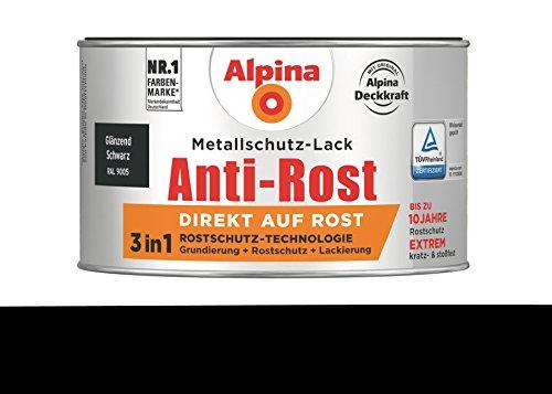 Alpina 300 ml Metallschutz-Lack, 3in1 Direkt auf Rost, RAL 9005 Schwarz Glänzend