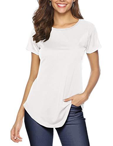 Fleasee Damen T-Shirt Einfarbig Rundhals Oberteile Sommer Kurzarm Basic Tee Casual Top Sport Shirt