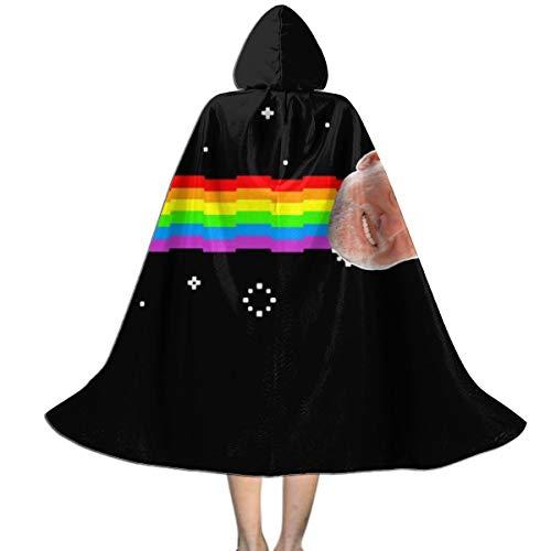 NUJSHF Harold Hide The Pain Nyan Cat Meme Unisex Kinder Kapuzenumhang Umhang Umhang Cape Halloween Party Dekoration Rolle Cosplay Kostüme Outwear