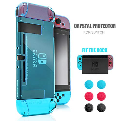 Dockable Case for Nintendo Switch, Protective Case for Nintendo Switch with a Tempered Glass Screen Protector and 6 Joy Stick Covers, Fit into The Dock Station - Blue