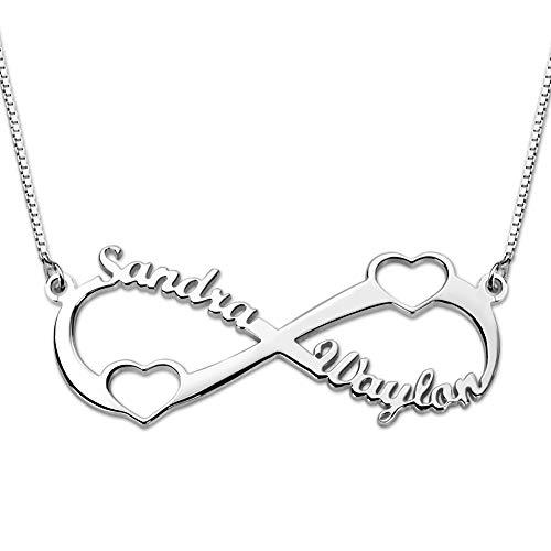 Bo&Pao Infinity Namenskette Herz Silber Sterling 925 mit Zwei Namen und Zwei Herzen