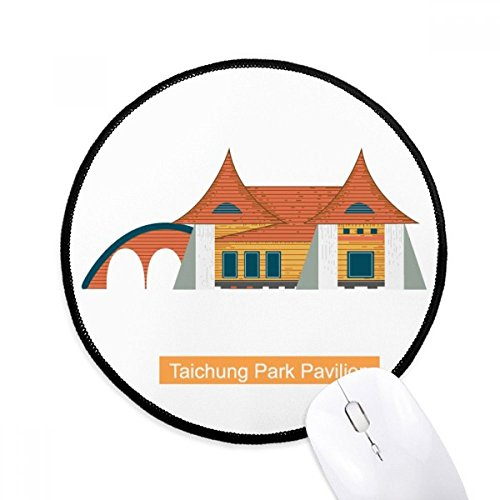 DIYthinker Taiwan Attracties Taichung Park Paviljoen Ronde Antislip Mousepads Zwart Titched Edges Game Office Gift