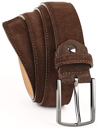 QUAMOD cinturón de hombres cinturón de ante 3,5cm-4cm (35mm-40mm) de ancho | gamuza con caja de regalo | respetuosa con el medio ambiente y de producción justa