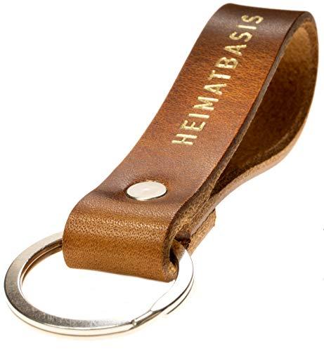 LIEBHARDT bewusst geschenkt aus pflanzlich gegerbtem Leder Schlüsselanhänger HEIMATBASIS für deinen Lieblingsmensch ob Frau oder Mann in Gold Gravur zu Ostern