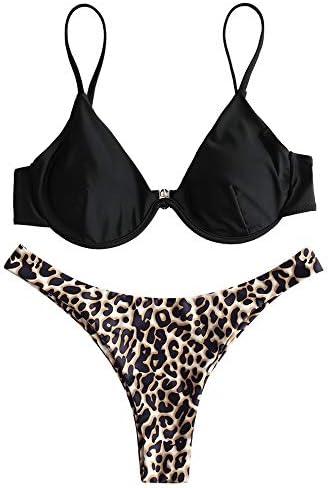 ZAFUL Women s Underwire Leopard Bikini Swimsuit Two Piece Adjustable Spaghetti Strap Bikini product image